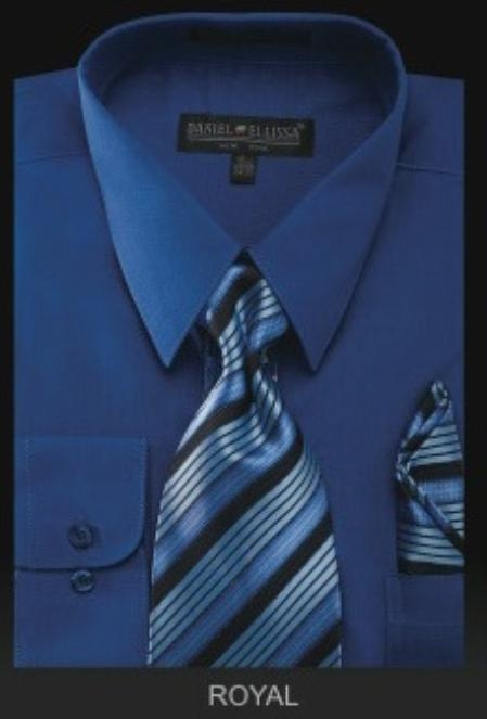SKU#RY6009 Mens Dress Shirt - PREMIUM TIE - Royal