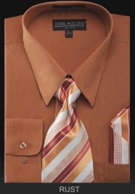 SKU#RS9879 Men's Dress Shirt - PREMIUM TIE - Rust