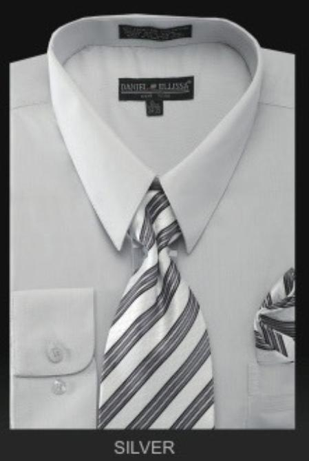 SKU#SL87543 Mens Dress Shirt - PREMIUM TIE - Silver $39
