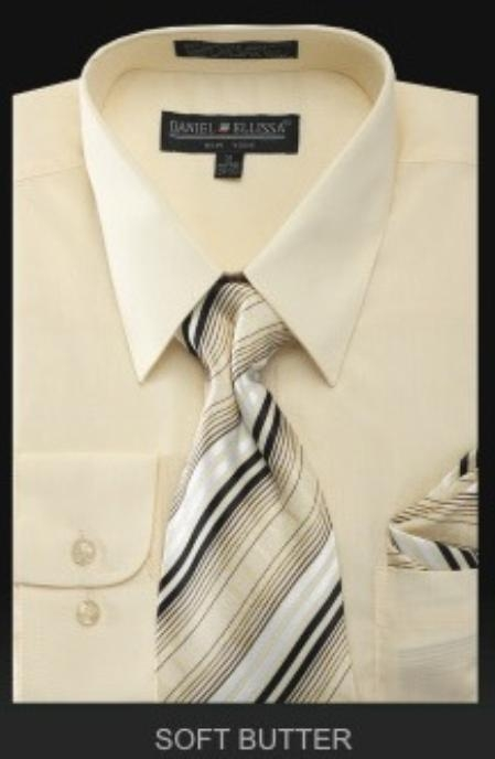 SKU#SB5891 Mens Dress Shirt - PREMIUM TIE - Soft Butter