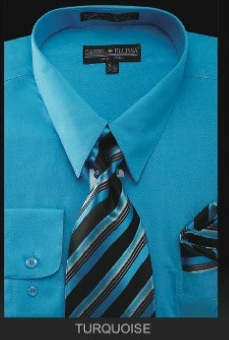 SKU#TU7901 Mens Dress Shirt - PREMIUM TIE - turquoise ~ Light Blue Stage Party