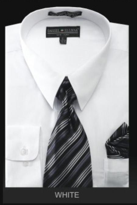 SKU#WH7009 Mens Dress Shirt - PREMIUM TIE - White $39