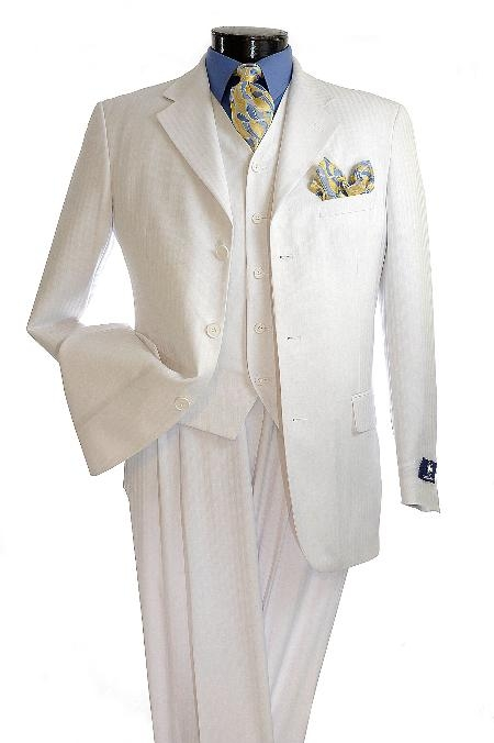 SKU#TJ6710 Mens Elegant White pinstripe 3 Button Zoot Suit $139