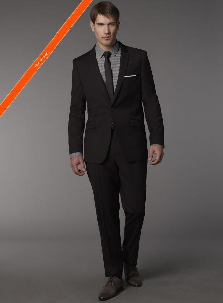 SKU#HM1992 Mens Slim Fitted Cut Black 1/2 button Suit + Skinny Tie