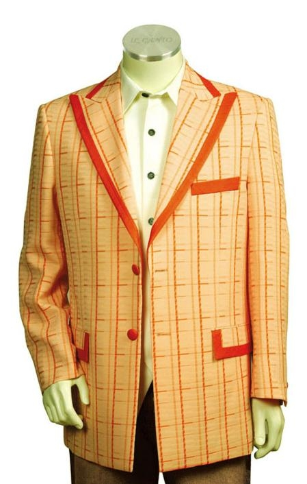 SKU#JW8178 Mens Exclusive Orange ~ Peach Pinstripe Fashion Zoot Suit Orange $175