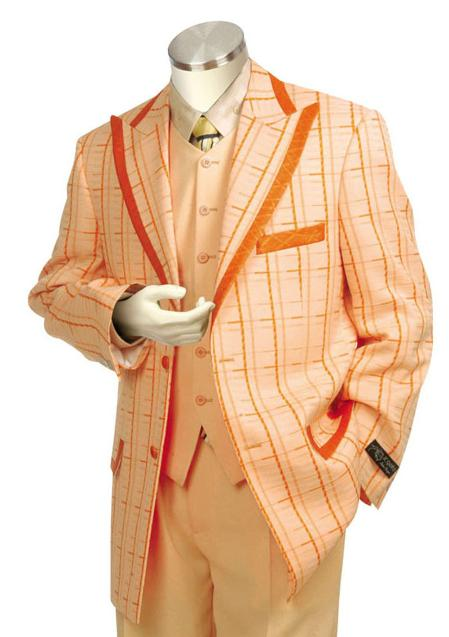 SKU#PS8178  Mens Exclusive Peach Pinstripe Fashion Zoot Suit $175