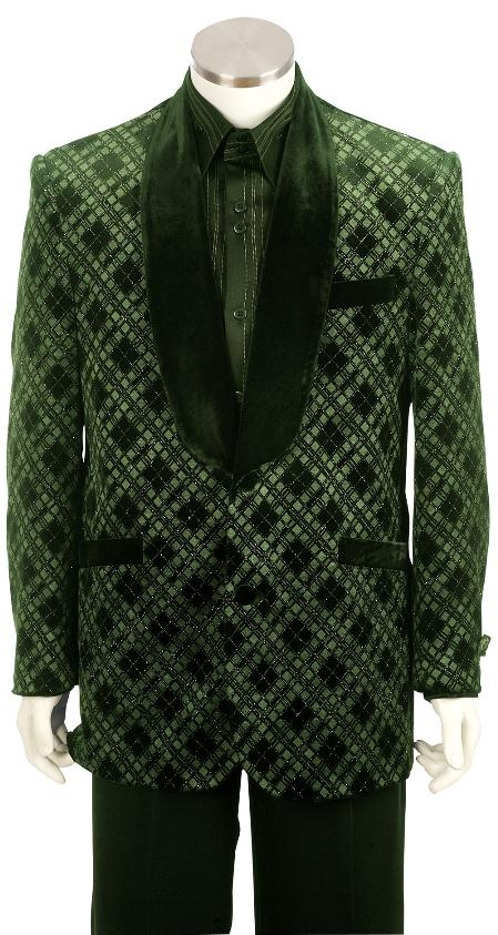 SKU#TS8162 Mens Exclusive Stunning Shawl Velvet Collar Dinner Jacket + Pants (Suit) Olive $225