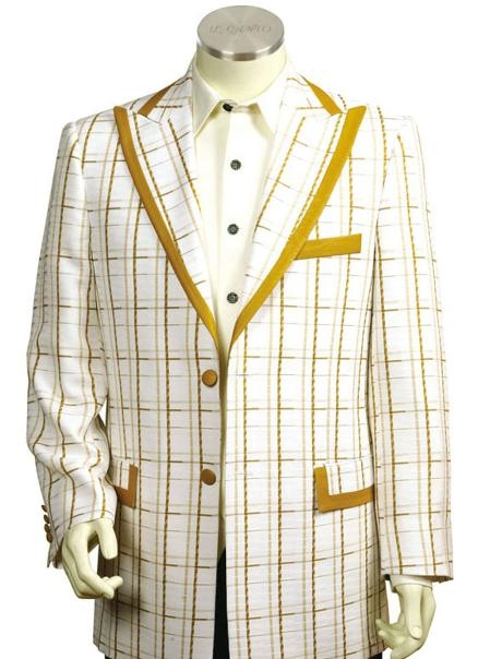 SKU#FK8178 Mens Exclusive White Mustard Pinstripe Fashion Zoot Suit Mustard $225