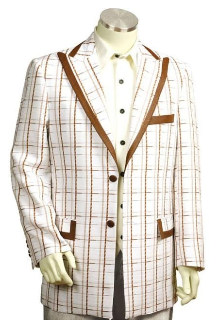 SKU#RN8178 Men's Exclusive White Pinstripe Fashion Zoot Suit White Coffee