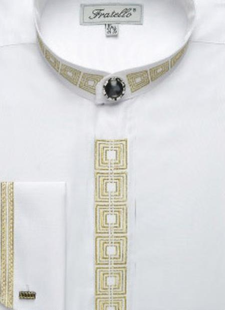 SKU#RH723 Mens Fancy Banded Collar French Cuff Shirt $49