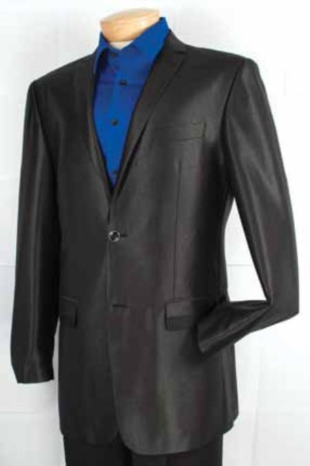 SKU#WE3688 Mens Fashion 2 Button Shiny sharkskin Fabric Sport Coat Black