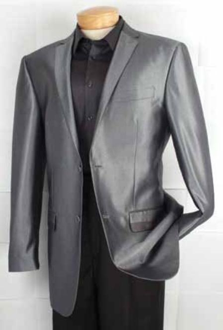 Mens Fashion 2 Button Shiny Sharkskin Fabric Sport Coat Gray