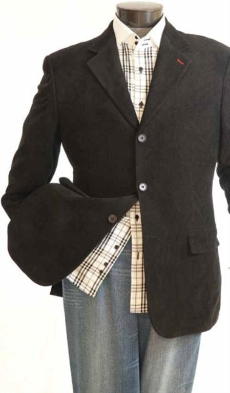 SKU#GV0282 Mens Fashion 3 Button Corduroy Jacket Black $99
