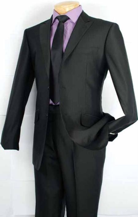 SKU#HS8302 Mens Fashion Slim Fit Suit in Luxurious Wool Feel Black