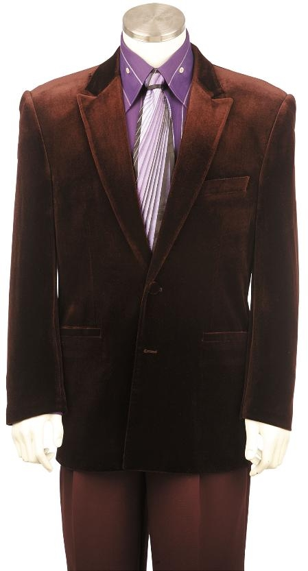 SKU#QU8132 Mens Fashion Velvet Suit Brown