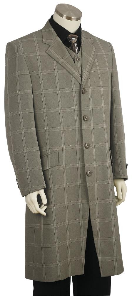 1950s Men's Clothing 4 Button Fashion Grey Zoot Suit Mens $170.00 AT vintagedancer.com