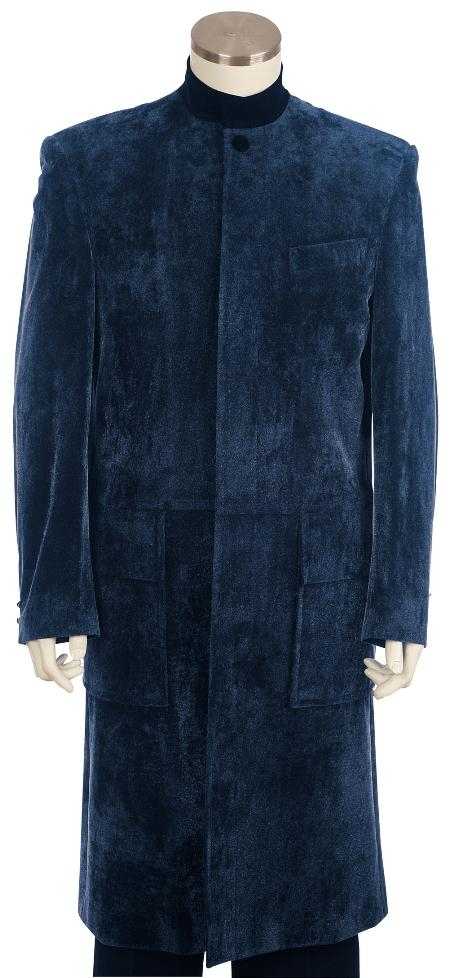 SKU#QT8125 Mens clergy robes Fashion Velvet Suit Navy