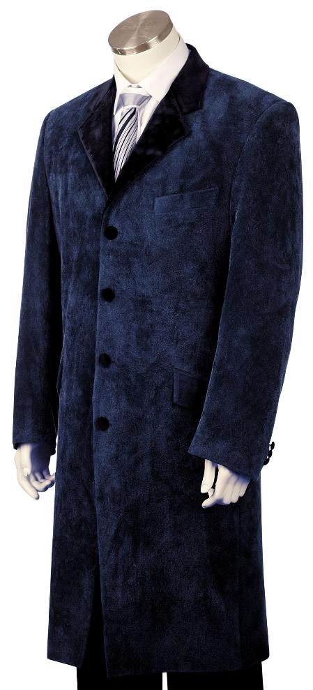 SKU#LQ8131 Mens Fashion Velvet Suit Navy $225
