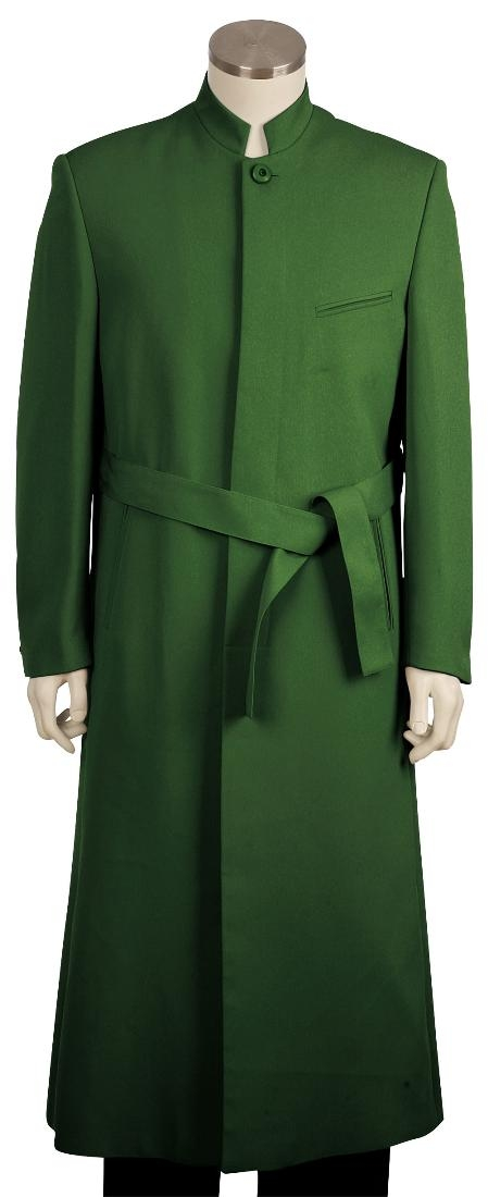 SKU#TF8101 Mens clergy robes Fashion Zoot Suit Olive 45 Long Jacket EXTRA LONG JACKET Maxi Very Long $125