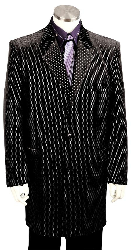 SKU#KW8110 Mens Fashion Zoot Suit Raisin Black $225