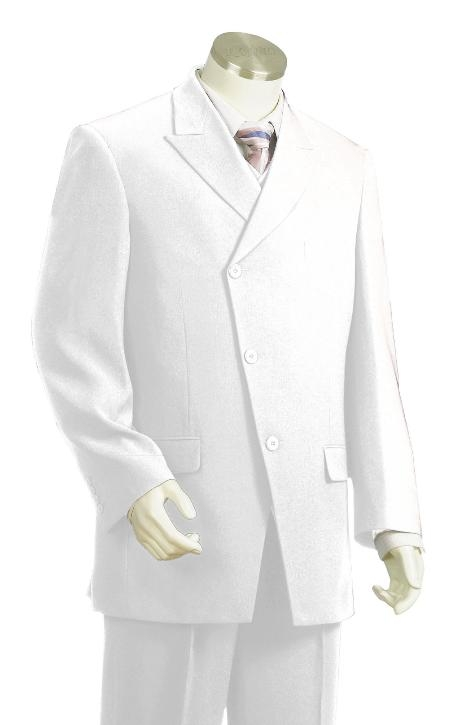 SKU#GW8101 Men's High Fashion Slant Front Double Breasted suit White