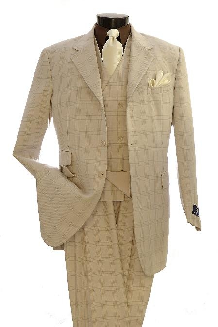 SKU#NR1056 Mens Fashion Zoot Suits Beige $139