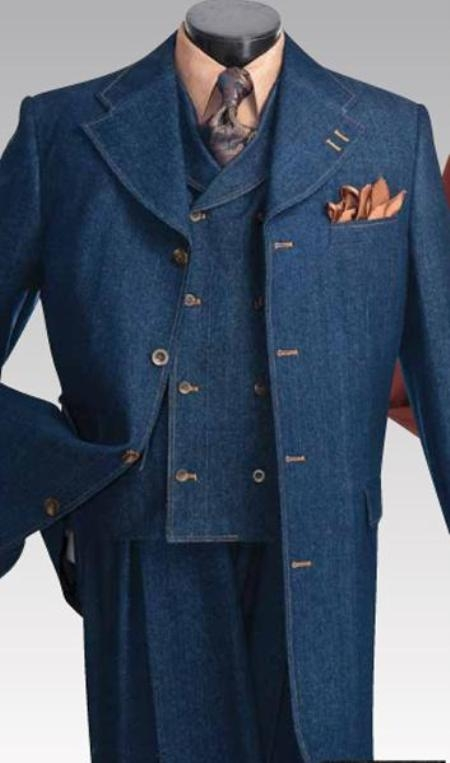 SKU#PW2381 Mens Long Unique Exclusive Fashion Denim Fabric Suit $225