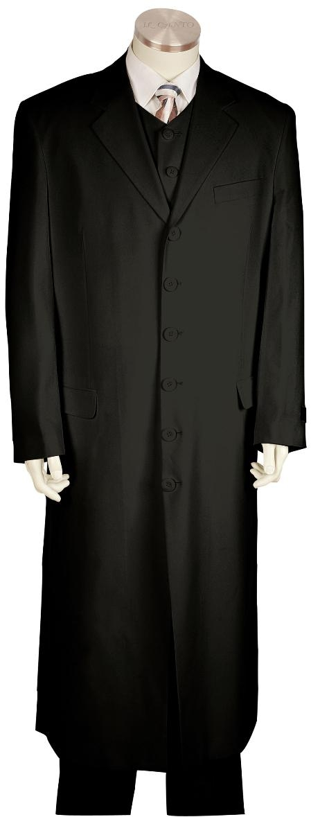 1920s Men's Clothing 6 Button Black Long Zoot Suit Mens $170.00 AT vintagedancer.com