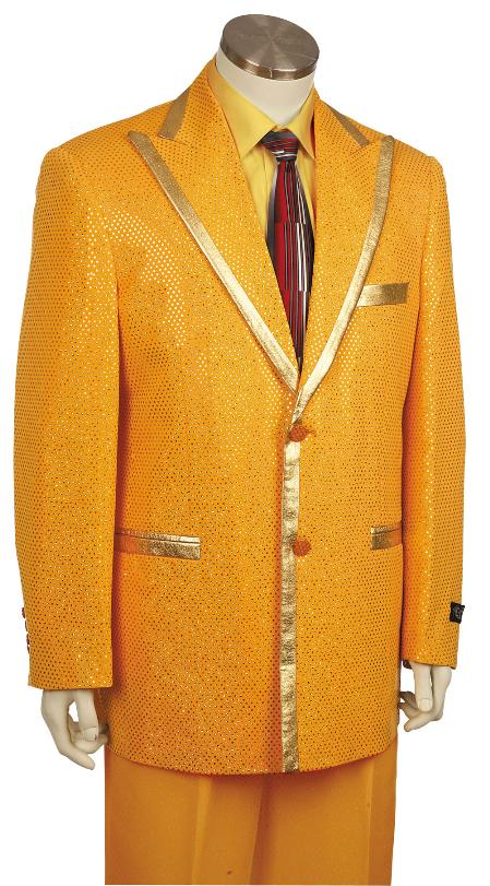 1970s Men's Suits History | Sport Coats & Tuxedos 2 Button Gold Zoot Suit  Mens $170.00 AT vintagedancer.com