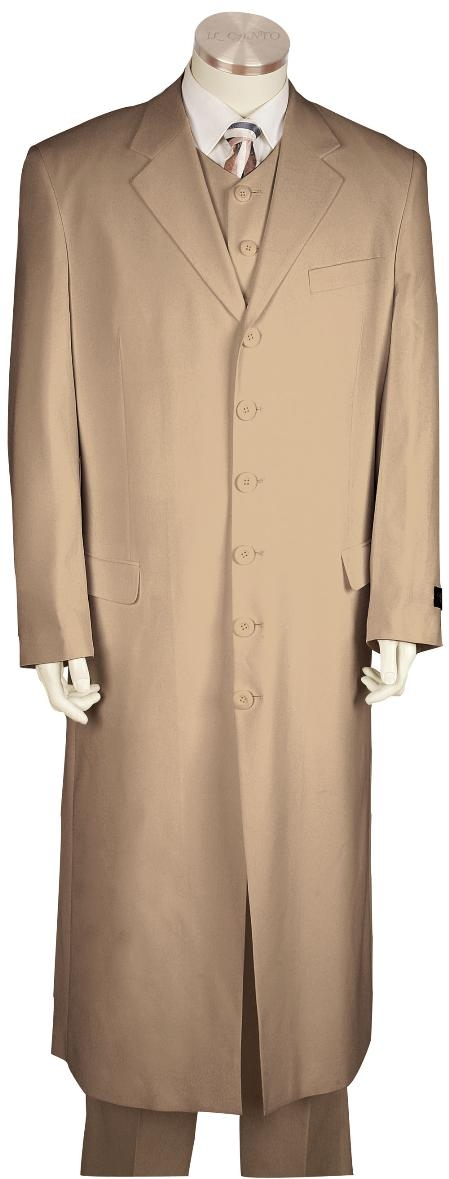 Men's Vintage Style Coats and Jackets 6 Button Khaki Long Zoot Suit Mens $199.00 AT vintagedancer.com