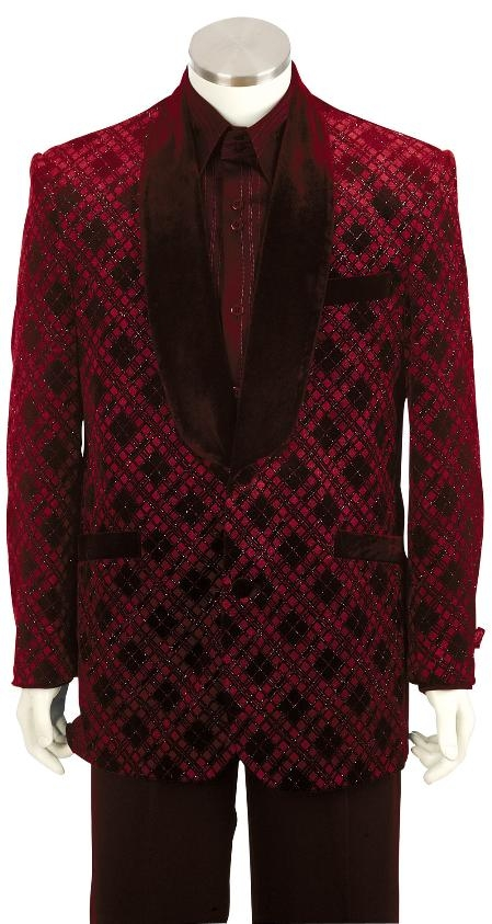 SKU#BY8162 Mens Fashionable Shawl Velvet Collar Dinner Jacket + Pants (Suit) Red $249
