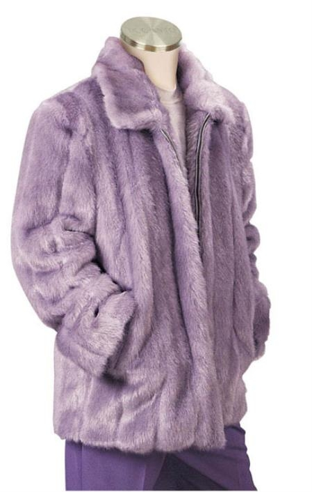 SKU#QA2111 Mens Faux Fur 3/4 Length Coat Lilac $199