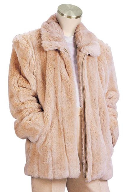 SKU#MW9222 Mens Faux Fur 3/4 Length Coat Peach $199