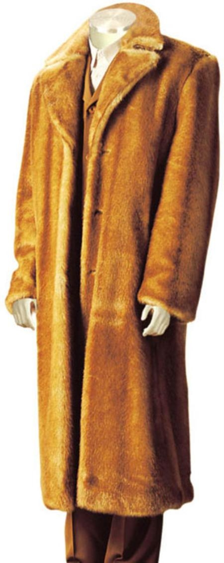 SKU#AC6911 Mens Faux Fur Full Length Coat Gold $199