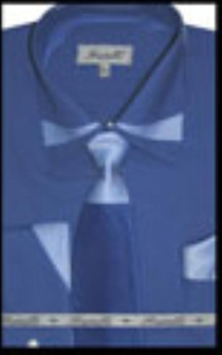 SKU#RY7851 Mens French Cuff Dress Shirt with Matching Tie and Hanky Royal $65