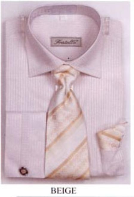 SKU#GU5038 Mens French Cuff Shirts with Cuff Links Beige $65