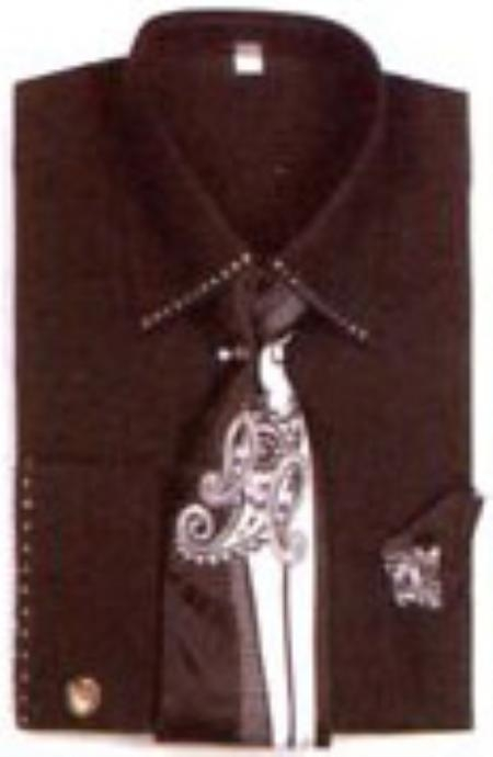 SKU#GV2413 Mens French Cuff Shirts with Cuff Links Black $65
