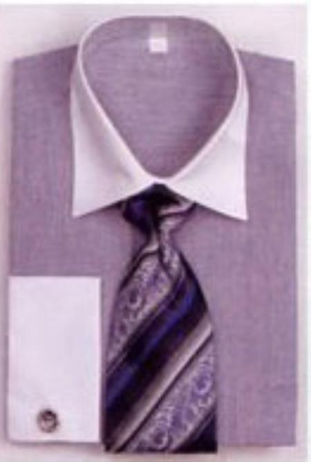 SKU#PW5802 Mens French Cuff Shirts with Cuff Links Blue $65