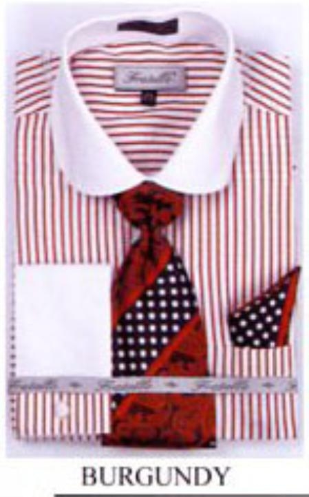 SKU#PZ3029 Mens French Cuff Shirts with Cuff Links Burgundy $65