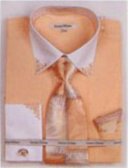 SKU#JI3467 Mens French Cuff Shirts with Cuff Links Coral $65