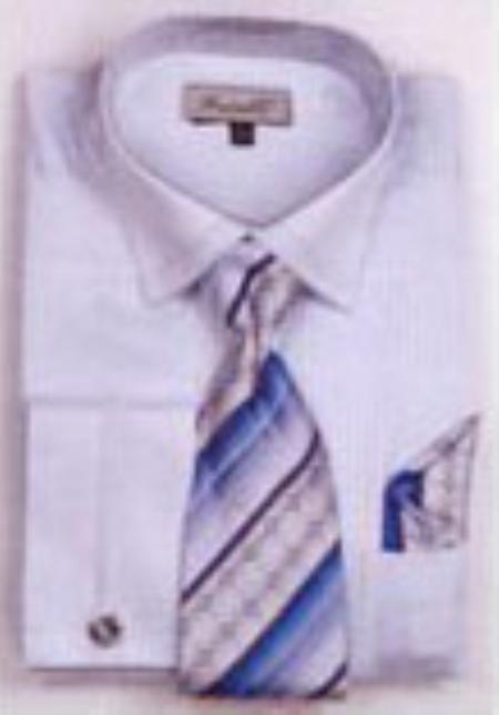 SKU#GB7329 Mens French Cuff Shirts with Cuff Links Light Blue $65