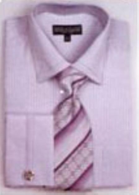 SKU#YB9024 Mens French Cuff Shirts with Cuff Links Lilac $65