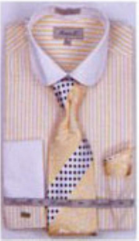 SKU#YB4035 Mens French Cuff Shirts with Cuff Links Mustard $65