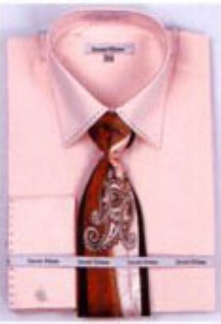 SKU#PK6732 Mens French Cuff Shirts with Cuff Links Pink $65