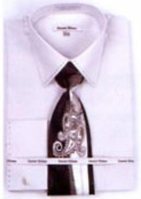 SKU#SL7293 Mens French Cuff Shirts with Cuff Links Silver $65