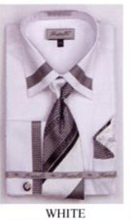 SKU#TX5016 Mens French Cuff Shirts with Cuff Links White $65