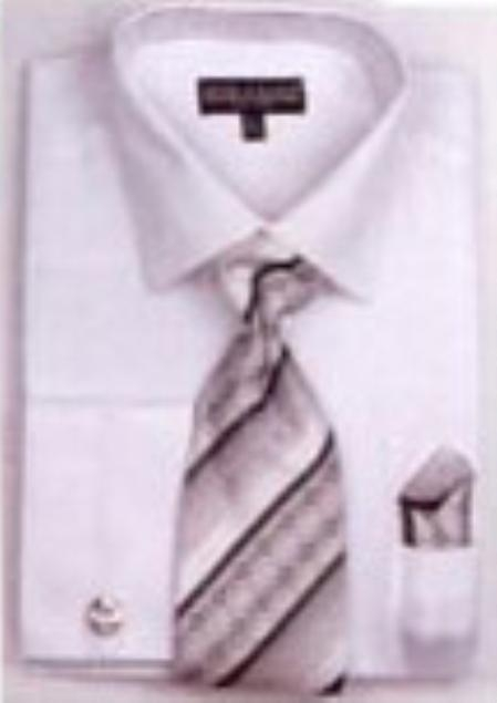 SKU#TZ1059 Mens French Cuff Shirts with Cuff Links White $65