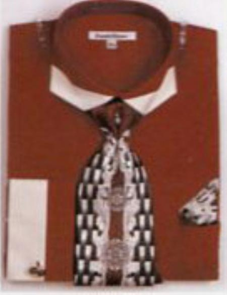 SKU#GY2749 Mens French Cuff Shirts with Cuff Links Wine/Burgundy $65
