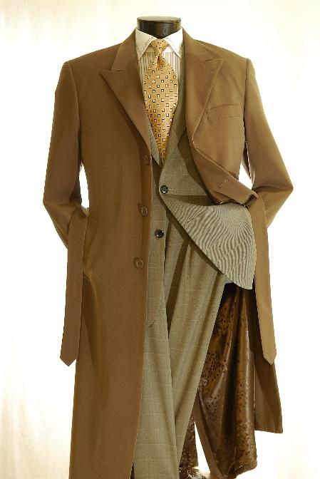 SKU#Coat0004 Mens Full Length 3 Button Hidden Button Wool Blend Top Coat Brown $135