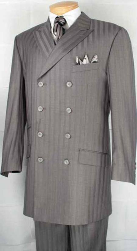 SKU#AN9222 Mens Gray Double Breasted Fashion Suit $179